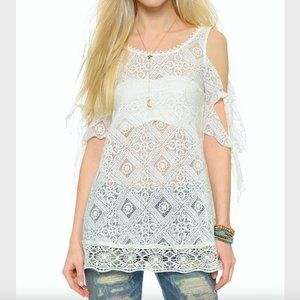 Free People Ivory Geo Lace White Sands Top Size XS